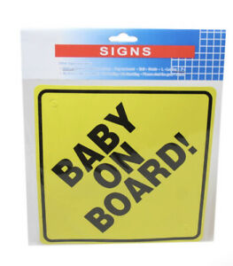 BABY ON BOARD SAFETY 1st BABY CAR WINDOW YELLOW BLACK Baby Safety Card 15cm 6247