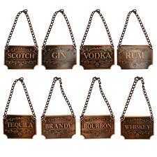 Copper Engraved Fancy Floral Decanter Labels Liquor Bottle Label Tag Set/8 Tags