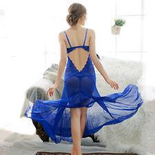 Blue-Sexy-Lingerie-Sleepwear-Lace-Women's-G-string-Underwear-Babydoll-Nightwear