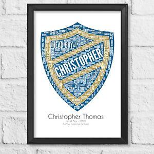 Personalised Head Boy Girl Prefect gift print School Certificate Christmas words