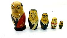 Set Of 6 Russian Leader Gorbachev Wooden Nesting Dolls