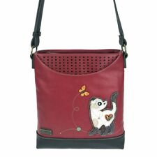 NEW CHALA BURGUNDY SLIM CAT SWEET MESSENGER CROSSBODY TOTE PURSE FAUX LEATHER