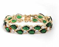 "10k Yellow Gold Over 4.4CT Pear Emerald Green & White Diamond 7"" Tennis Bracelet"