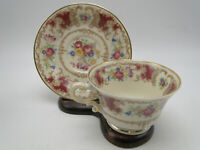 Syracuse China Old Ivory Romance Maroon Cup & Saucer set(s) gold trim floral