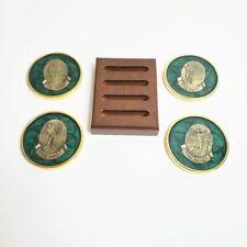 Vtg Coasters Golf Theme Emerald Green Gold Brass Heavy Barware Set of Four Usa