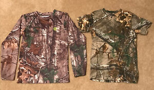 (2) Game Winner REALTREE Camo Long Sleeve & Short Sleeve Youth Size Small Unisex