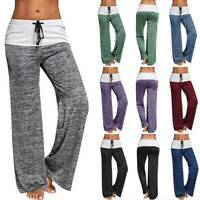 Flare Wide Leg Foldover Yoga Pants Womens Comfy Stretch Soft Gym Sports Leggings