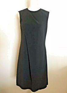 GIORGIO ARMANI Black Sheath DRESS Pleated Size IT 40 US 4 Sleeveless Small