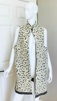 ESKANDAR WOOL & SILK LONG LACE VEST CREAM & GRAY SIZE 1 MINT
