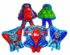 Superhero Avengers (x 5) Spiderman Batman Iron Hulk Superman Foil Balloons