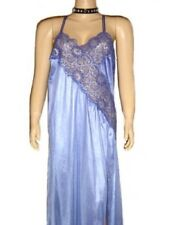 3X Sexy Plus Size Lingerie Blue Long Gown Side slit.  see through lace 3X