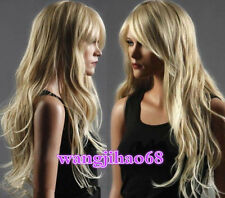 Long Western Womens Wig Like Real Natural Hair Wave Curly Blonde Wigs+WIG CAP