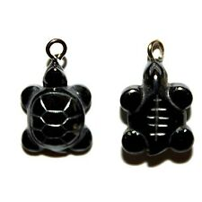 HEMATITE SMALL TURTLE PENDANT 15X3MM CHARM 3 DIMENSIONAL EARRING 4 TURTLES HC52