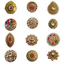 Kundan Bollywood Bridal Adjustable GoldPlated Finger Ring Indian Fashion Jewelry