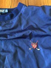 Vintage Polo Golf Nylon Wind Jacket Sz XL Blue Long Sleeves Golf Crest Logo VTG