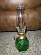 """Vtg Miniature Green Hobnail Oil Lamp Hong Kong clear shade 8 1/4"""" tall"""