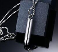 Edelstahl Anhänger Notkapsel Geheim Aufschrauben Munition Patrone Bullet Kette