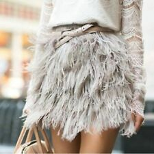 NEW RARE VINTAGE TOPSHOP BOUTIQUE GREY BLUE OSTRICH FEATHER MINI SKIRT 12 8 36