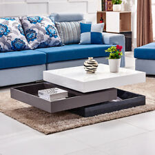 2 Colour Rotatable Coffee Table High Gloss Square 3 Layer Living Room Furniture