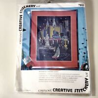 Vintage Crewel Embroidery Kit Harbor Lights New York 1974 Creative Stitchery