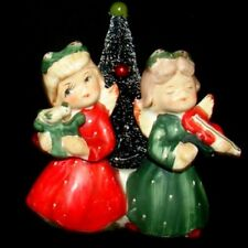 Vintage Commodore Christmas Angel Sister Girls Candle Holder with Tree