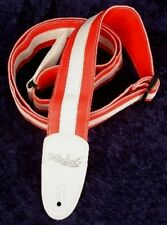REBEL FANCY FAUX LEATHER GUITAR STRAP GTO SERIES RED / WHITE