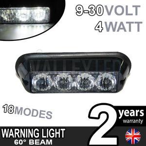 4 LED Warning Beacon WHITE Module Recovery Strobe 12v or 24v HGV Van Hazard