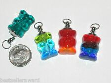 1pc small Glass candy Bear BOTTLE gummy perfume vial charm pendant necklace *