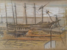 1940 Drawing of the Ship Joseph Conrad in Mystic CT by A.H. Patterson