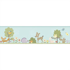 WOODLAND ANIMALS WALLPAPER BORDER peel & stick owl deer tree rabbit fox decor