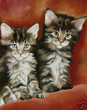 Maine Coon Kittens Cat Art Print of Original Painting