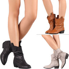 New Pointy Toe Slouchy Cowboy Western Ankle Boots Booties Pull On Low Flat Heel