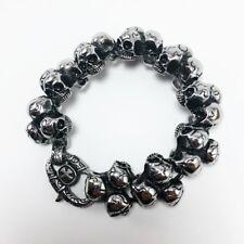 with Triple Skulls (Usa) Stainless Steel Men's Bracelet
