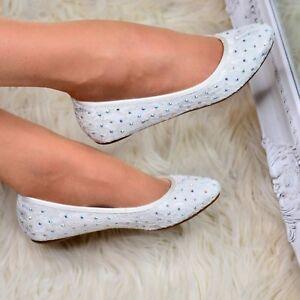 Womens Bridal Diamante Ladies Slip On Ballet Pumps Bridesmaid Flat Shoes Size