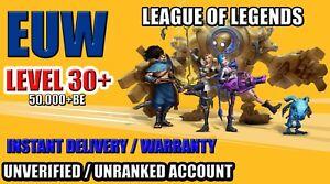 Cuenta LOL League of legends EUW 🥇 Lvl 30+ 50.000+ BE ✅ Sin verificar ✅ No rank