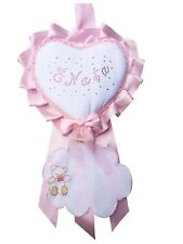 Fiocco Nascita DA RICAMO Cuore Rosa Grande Creato artigianalmente a mano
