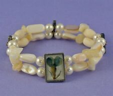 Ladies Twin Strand Cream Stretchy Bracelet with Beads, Pearls & Dried Flower