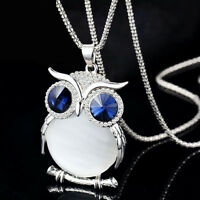 Fashion Women Owl Rhinestone Crystal Pendant Necklace Long Chain Sweater Jewelry