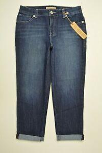 NINE WEST Size 6 / 28 Missy Womens VINTAGE BOHO Stretch CROP CUFFED Dark Jeans