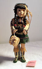 Paradise Galleries Native American Indian Porcelain Doll & Stand