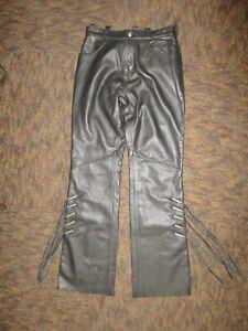 "GENUINE H-D HARLEY WOMENS SEXY BLACK LEATHER PANTS W TASSLES SIZE 4W 28"" WAIST"