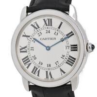 Auth CARTIER Ronde Solo LM W6700255 Stainless/Leather Quartz Men's Watch L#92740