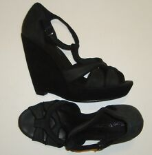 "BEAUTIFUL WITTNER BLACK LEATHER BLACK VELVET WEDGE SANDALS size 9.5 ""TEENARA"""