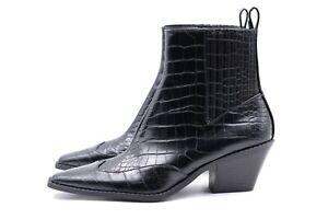 ZARA Damen Stiefelette Gr. 37 UK 4 Schwarz Kunstleder Boots Schuhe NEU