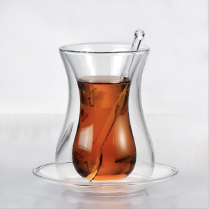 2 Pack 150ml Double Wall Turkish Tea Glass Cups with Glass Spoon and Saucers
