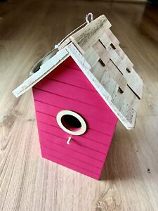 Bird House Nesting Box, Hot Fuchsia Pink, Sunny Seaside Beach Hut Style,