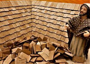 Krippenzubehör, Krippenbau, Dachschindeln,  200 St. 25x13x1mm (Nussbaum gebeizt)