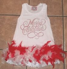 Girls BORN 4 COUTURE~CHRISTMAS DRESS~size 5-6~NEW~RED Feathers SPARKLE Beaded