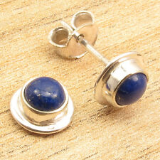 """Lapis Lazuli Silver Plated Unisex Jewelry 0.4"""" Stud Post Earrings ! Round"""