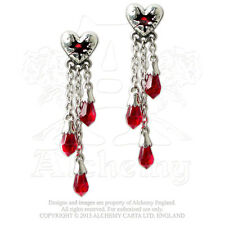 NWT Bleeding Heart Stud Earrings Hanging Chains Red Crystals Alchemy Gothic E272